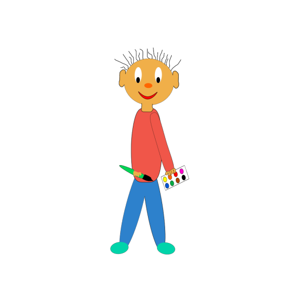 Kid Holding Paint Brush PNG clipart