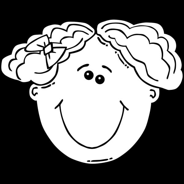 Smiling Girl Face Outline PNG Clip art