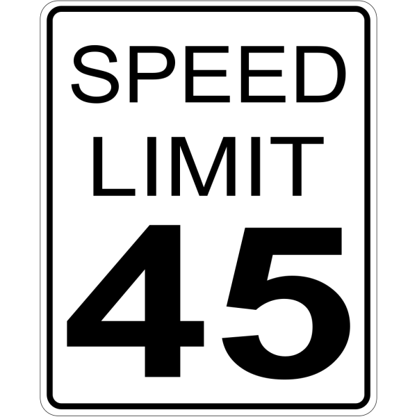 45mph Speed Limit Road Sign PNG Clip art