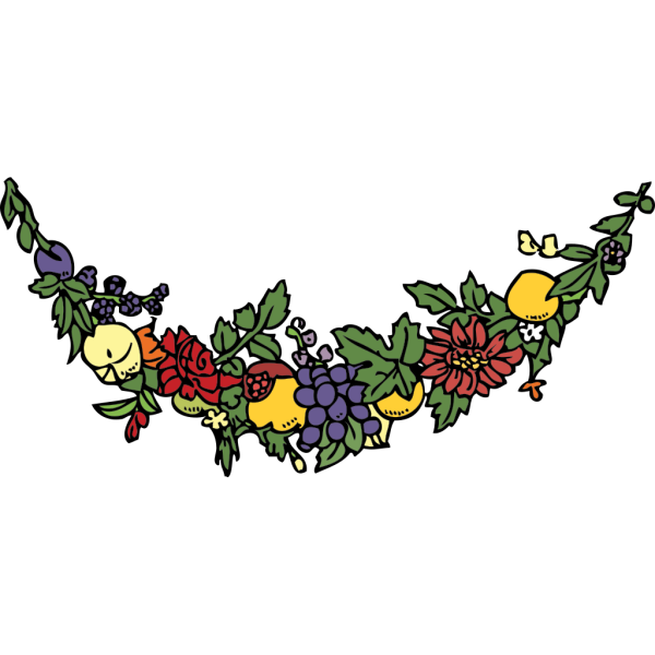 Flower And Fruit Festoon PNG clipart