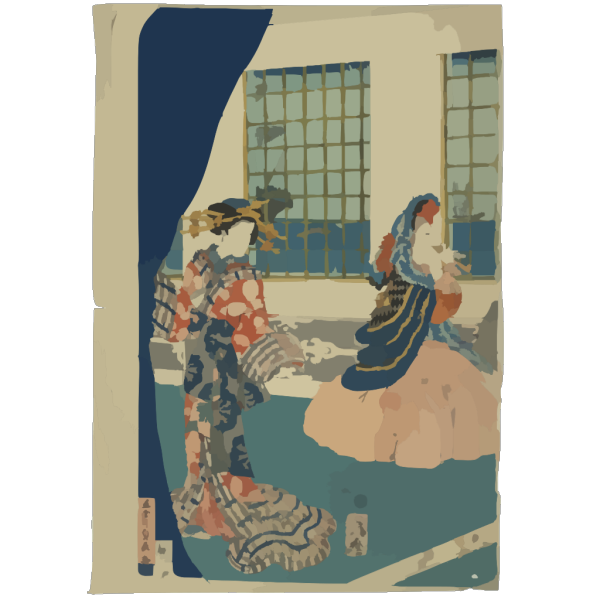 Ladies In A Western-style Building Of Yokohama. PNG Clip art