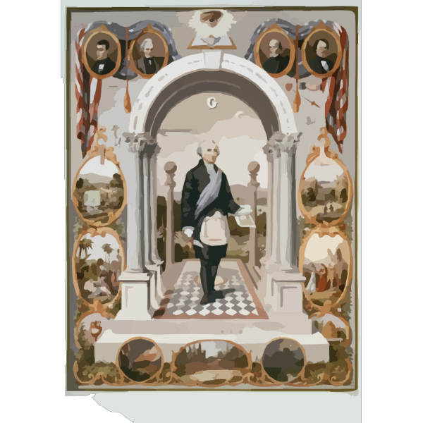 Washington As A Mason  / Drawn By J.f. Queen ; Printed In Oil Colors By P.s. Duval Son & Co. PNG Clip art