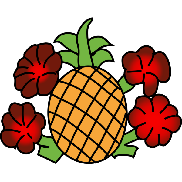 Pineapple With Flowers PNG images