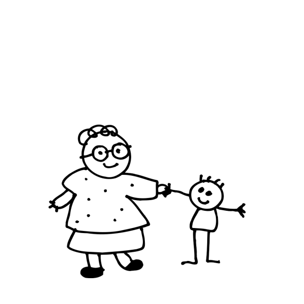 Mom Holding Childs Hand - Outline PNG icons
