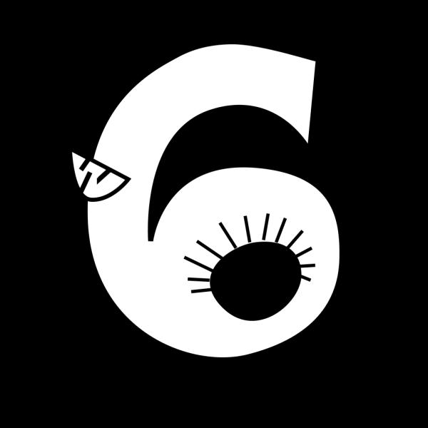 Animal Number Six Outline PNG Clip art