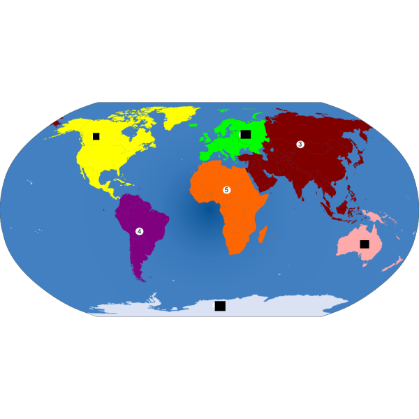World Continents Colored PNG Clip art
