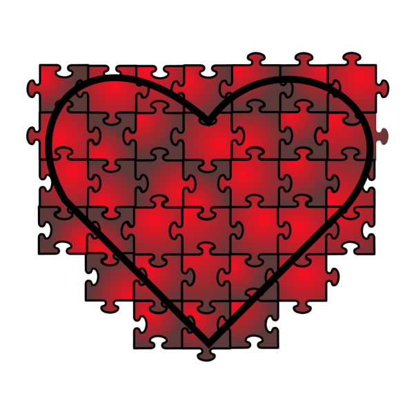 Heart Puzzle With Red Black Gradient PNG Clip art