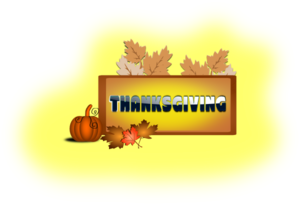 Thanksgiving With Pumpkin & Leaves PNG Clip art