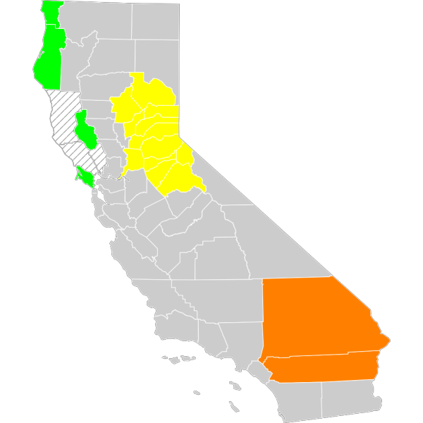 California Economic Region County Map PNG images