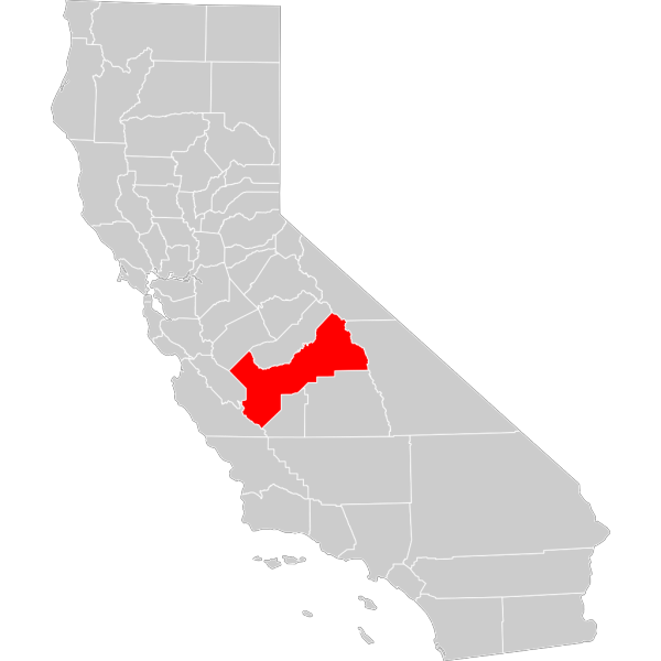 California County Map Fresno County Highlighted PNG Clip art