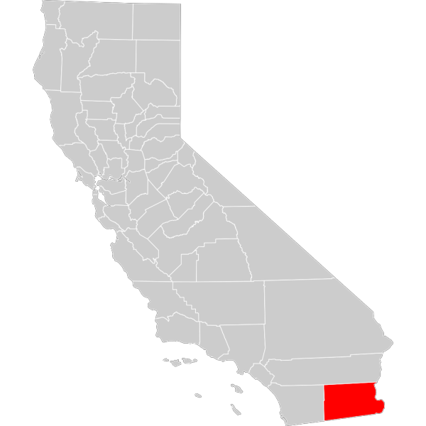 California County Map Imperial County Highlighted PNG Clip art