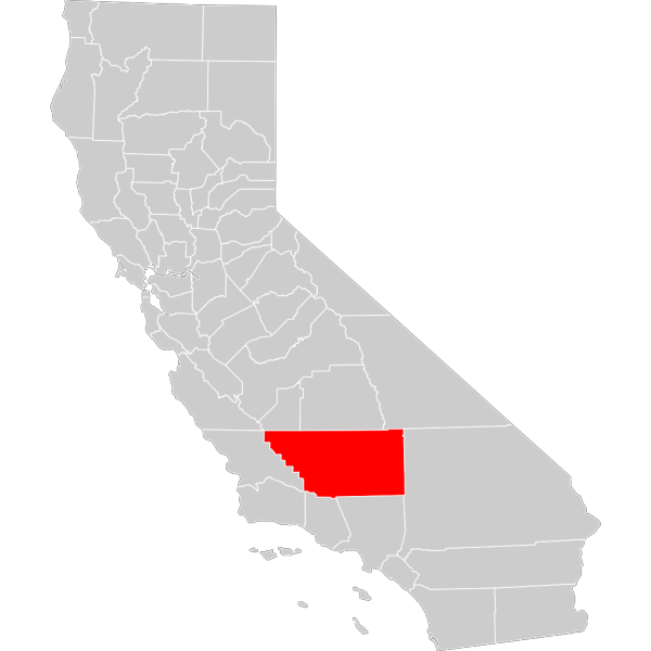 California County Map Kern County Highlighted PNG Clip art