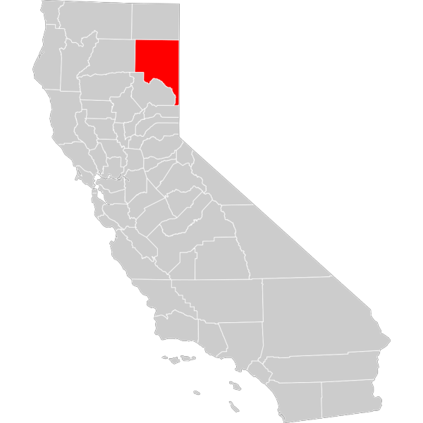 California County Map Lassen County Highlighted PNG Clip art