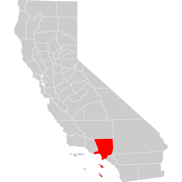 California County Map Los Angeles County Highlighted PNG Clip art