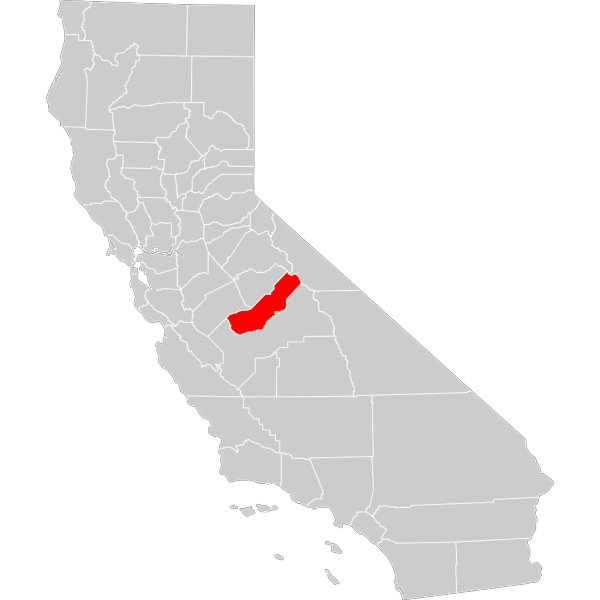 California County Map Madera County Highlighted PNG Clip art