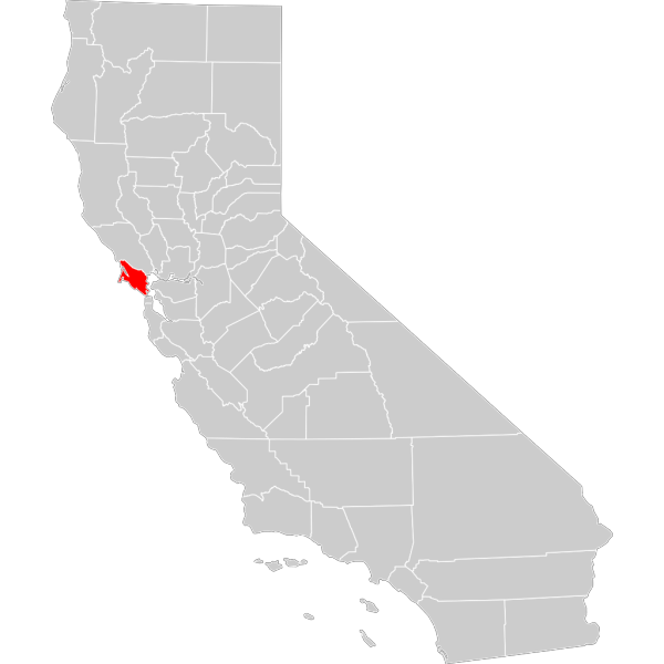 California County Map Marin County Highlighted PNG Clip art