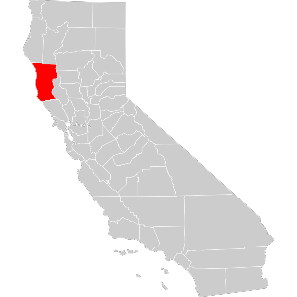 California County Map Mendocino County Highlighted PNG Clip art