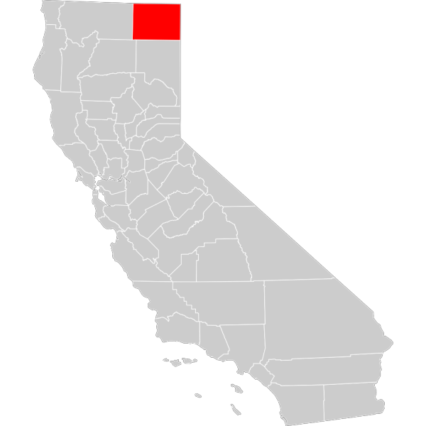 California County Map Modoc County Highlighted PNG Clip art