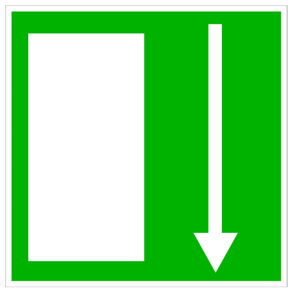 Green Exit Door - Down PNG Clip art