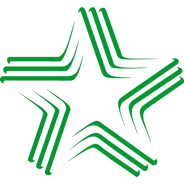 Green Gradient Star With Stripes PNG Clip art