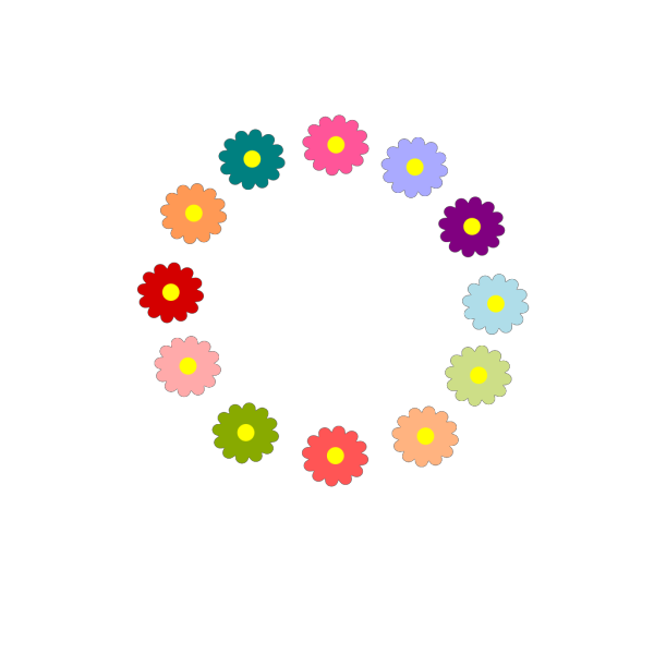 Rainbow Flower Wreath Png Svg Clip Art For Web Download