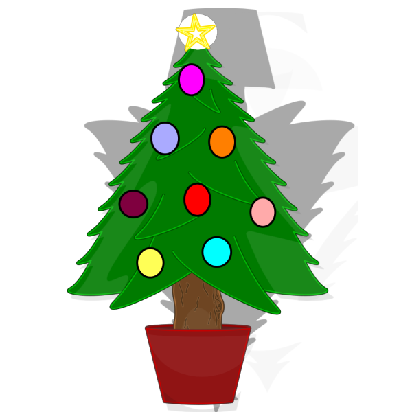 Christmas Tree With Rainbow Color Ornaments PNG Clip art