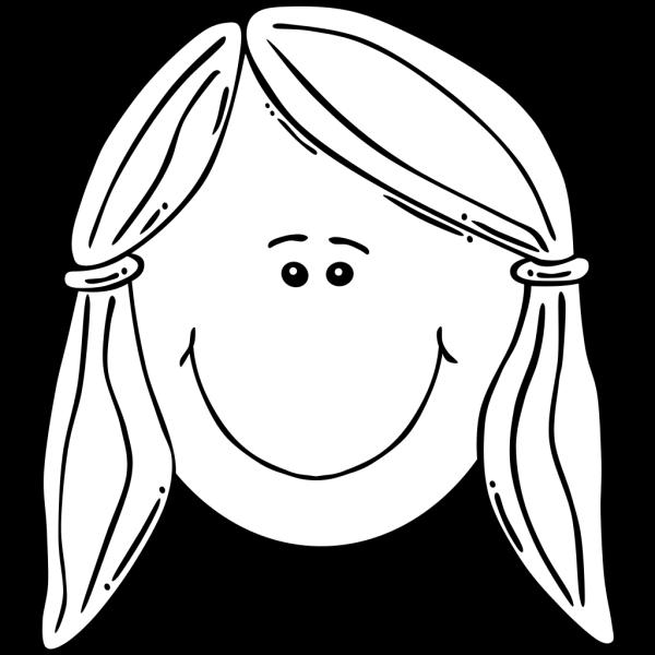 Smiling Girl Face Balck & White PNG Clip art