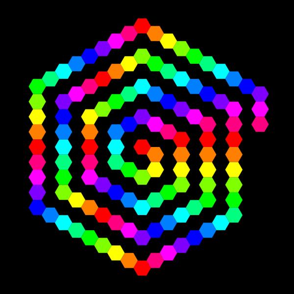 120 Hexagon Spiral PNG Clip art