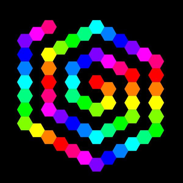 60 Hexagon Spiral PNG Clip art