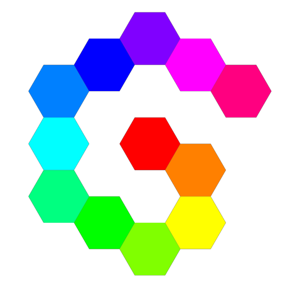12 Hexagon Spiral Rainbow PNG Clip art