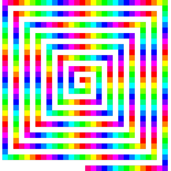 12 Color 480 Square Spiral PNG Clip art