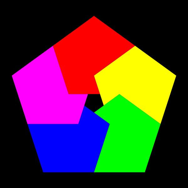 Pentagon Donut 5 Colors PNG Clip art