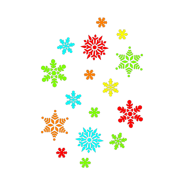 Colorful Snowflakes PNG Clip art