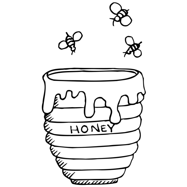 Bees Around A Honey Pot PNG Clip art