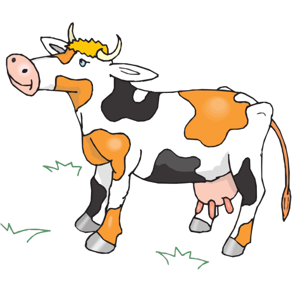 Black White And Orange Cow PNG Clip art