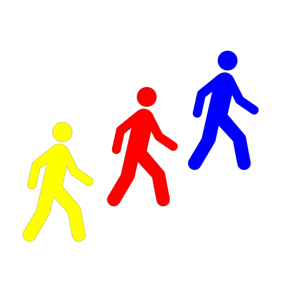 Walking Man Colors PNG Clip art