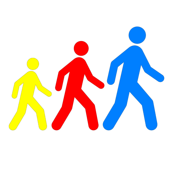 Walking Man Colors 1 PNG Clip art
