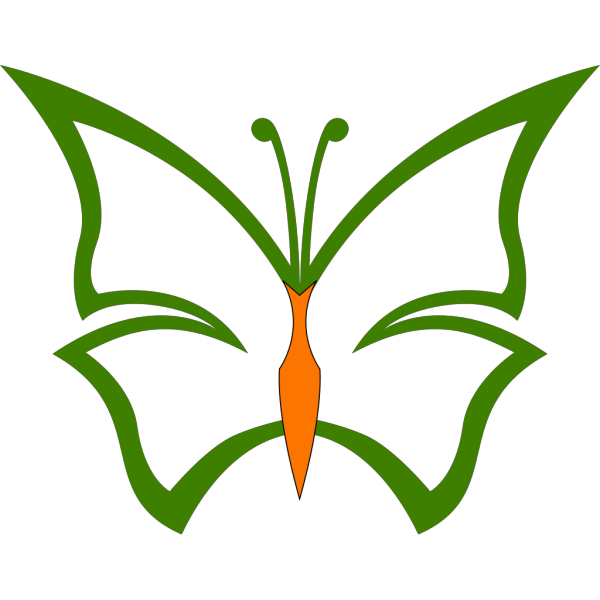 Green And Orange Butterfly PNG Clip art