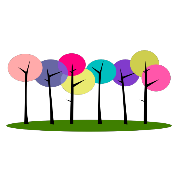 Colorful Trees PNG Clip art
