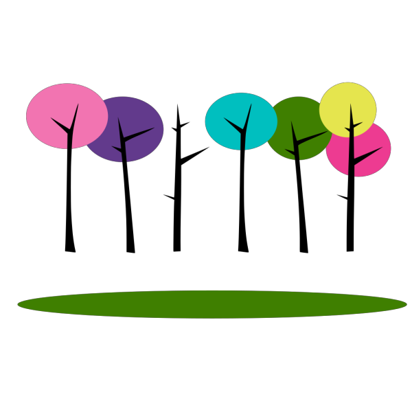 Colorful Trees 2 PNG Clip art