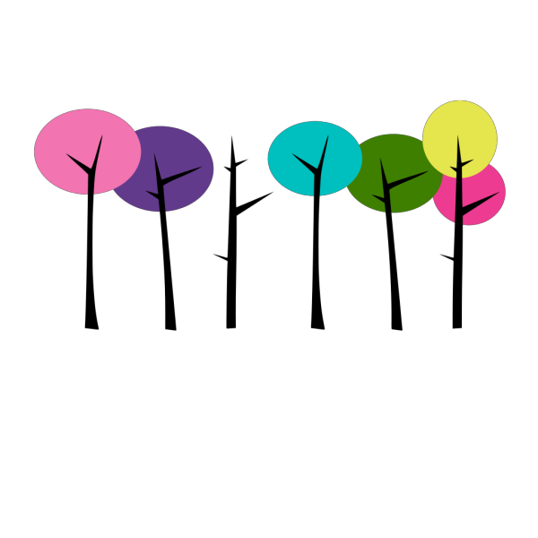 Colorful Trees Edit PNG Clip art