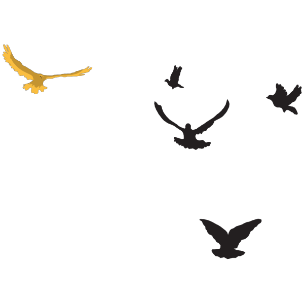Black And Gold Birds In The Distance PNG Clip art