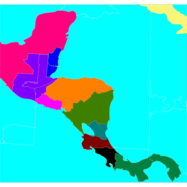 Central America Blank Colored Map PNG Clip art
