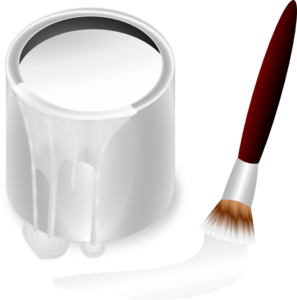 White Paint Bucket And Paint Brush PNG Clip art