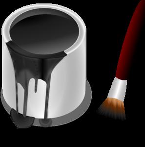 Black Paint Bucket With Paint Brush PNG Clip art