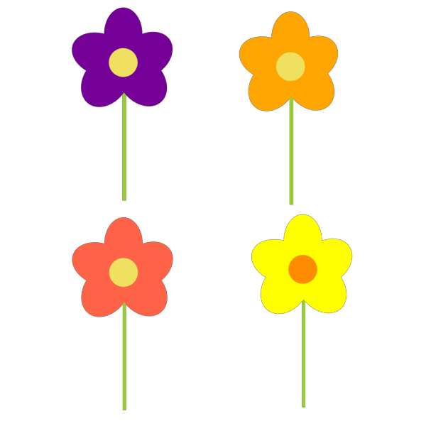 Spring Flowers Multi Colors PNG Clip art