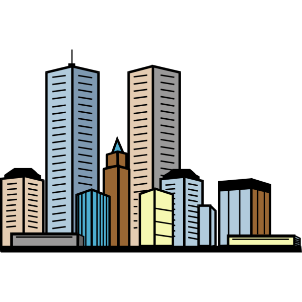 Cityline With Skyscrapers PNG Clip art
