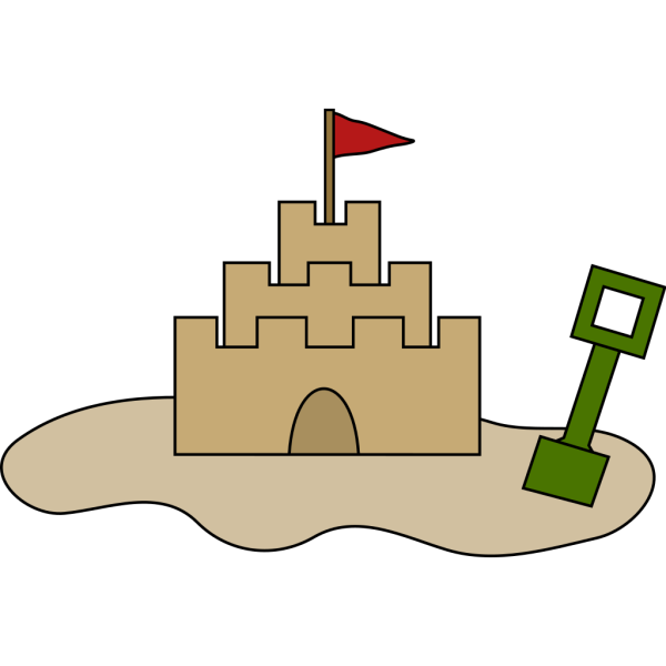 Sand Castle And Shovel In Color PNG Clip art