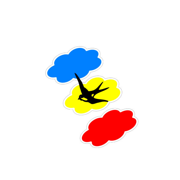 Swallow Colored Clouds PNG Clip art