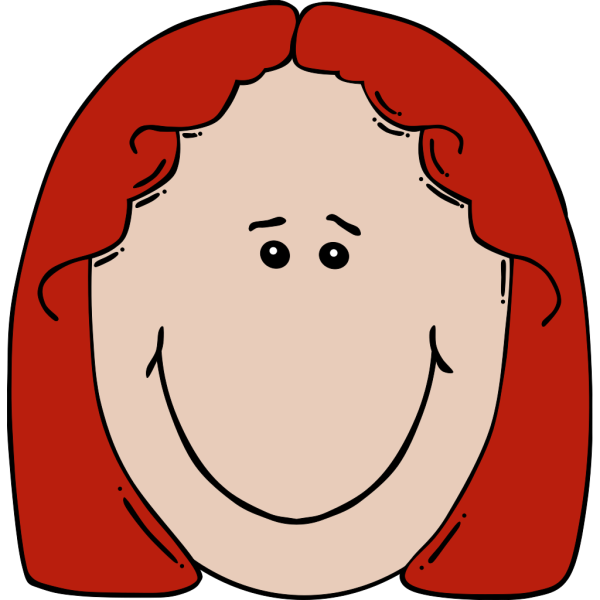 Red Haired Lady Face Cartoon PNG Clip art